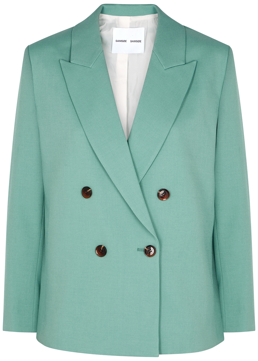 Margrit mint double-breasted twill blazer