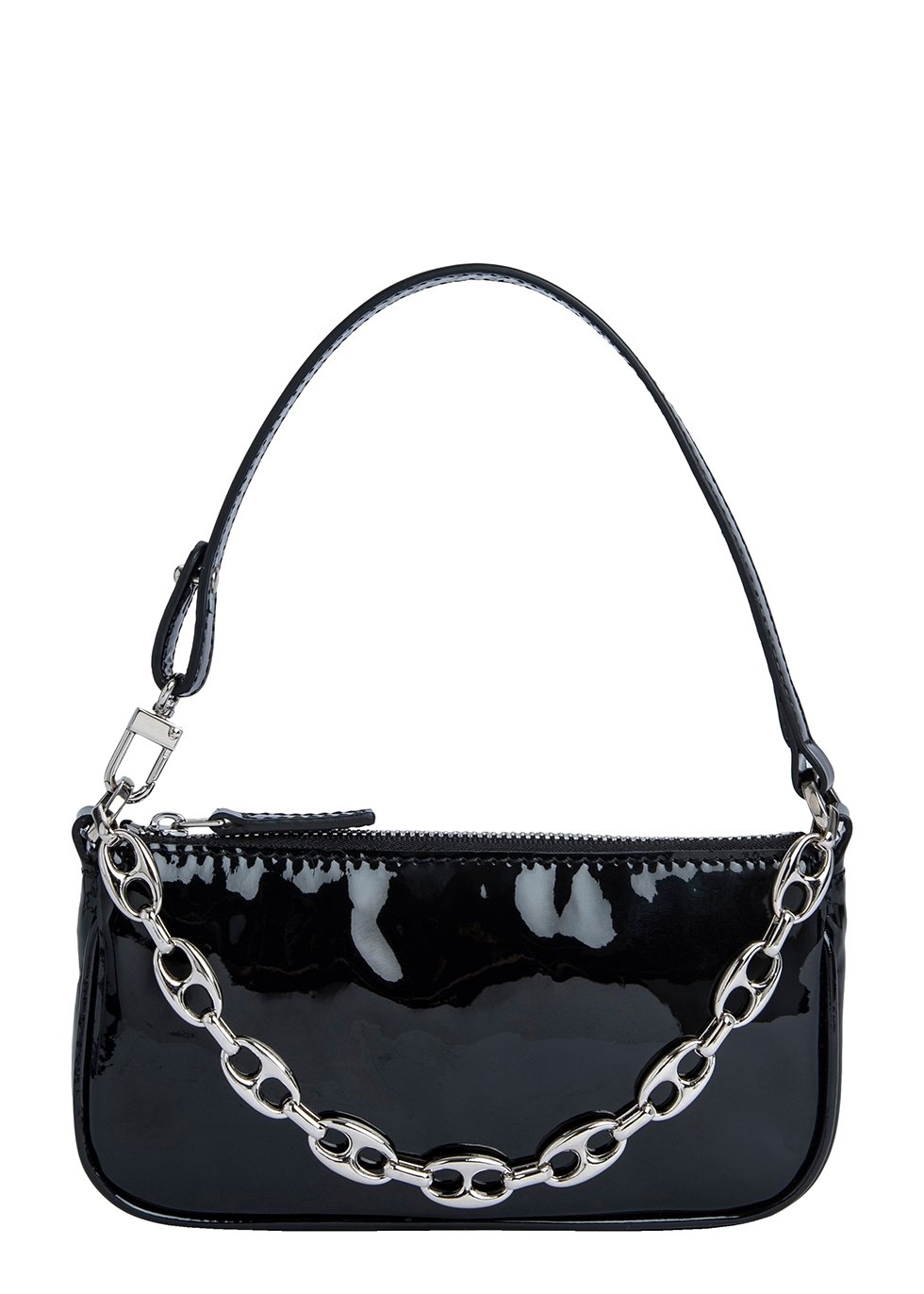 By Far MINI RACHEL BLACK PATENT LEATHER SHOULDER BAG