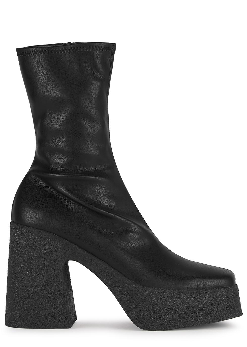 115 black faux leather platform ankle boots
