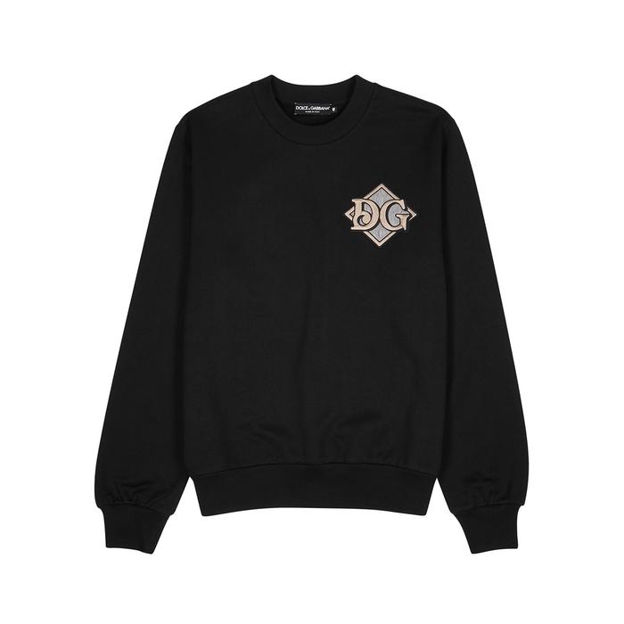 Dolce & Gabbana Cottons BLACK LOGO-APPLIQUÉD COTTON SWEATSHIRT