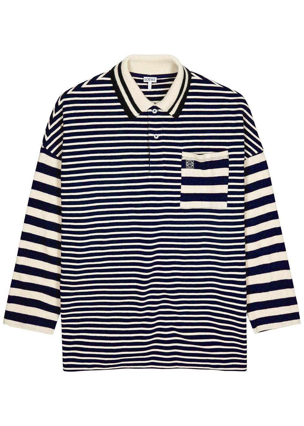 Striped knitted cotton polo shirt