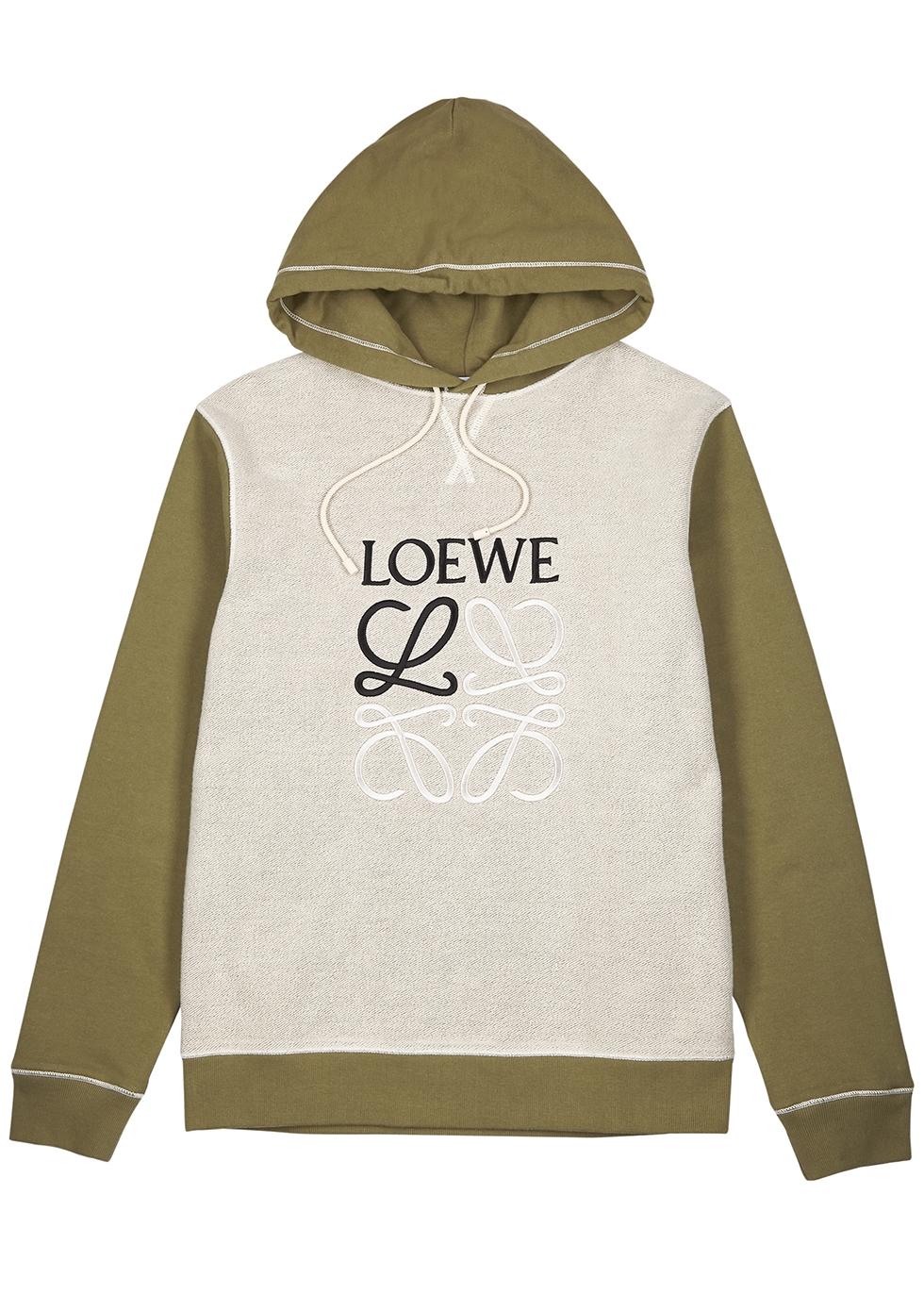 Olive logo-embroidered cotton sweatshirt