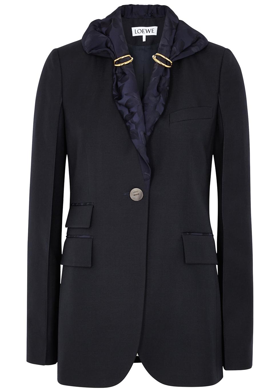 Navy scarf-embellished wool jacket