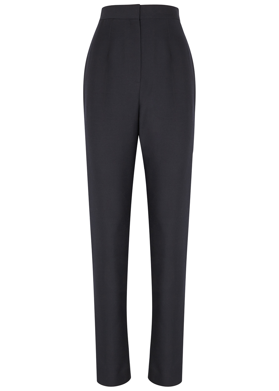 Navy tapered wool trousers