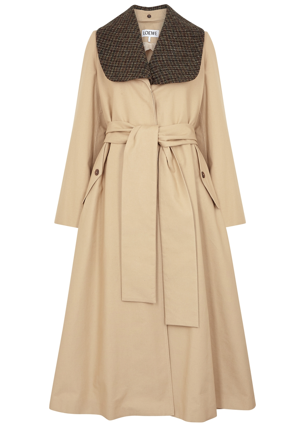 Sand cotton-twill trench coat