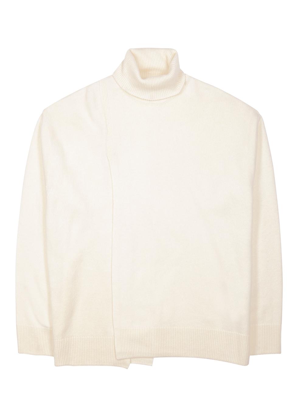 Cream roll-neck wool-blend jumper