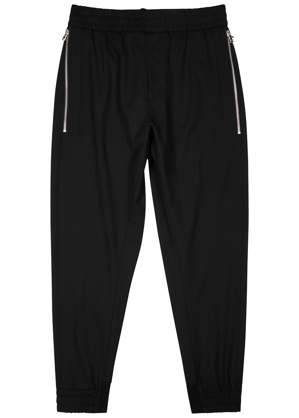 Black slim-leg stretch-wool trousers