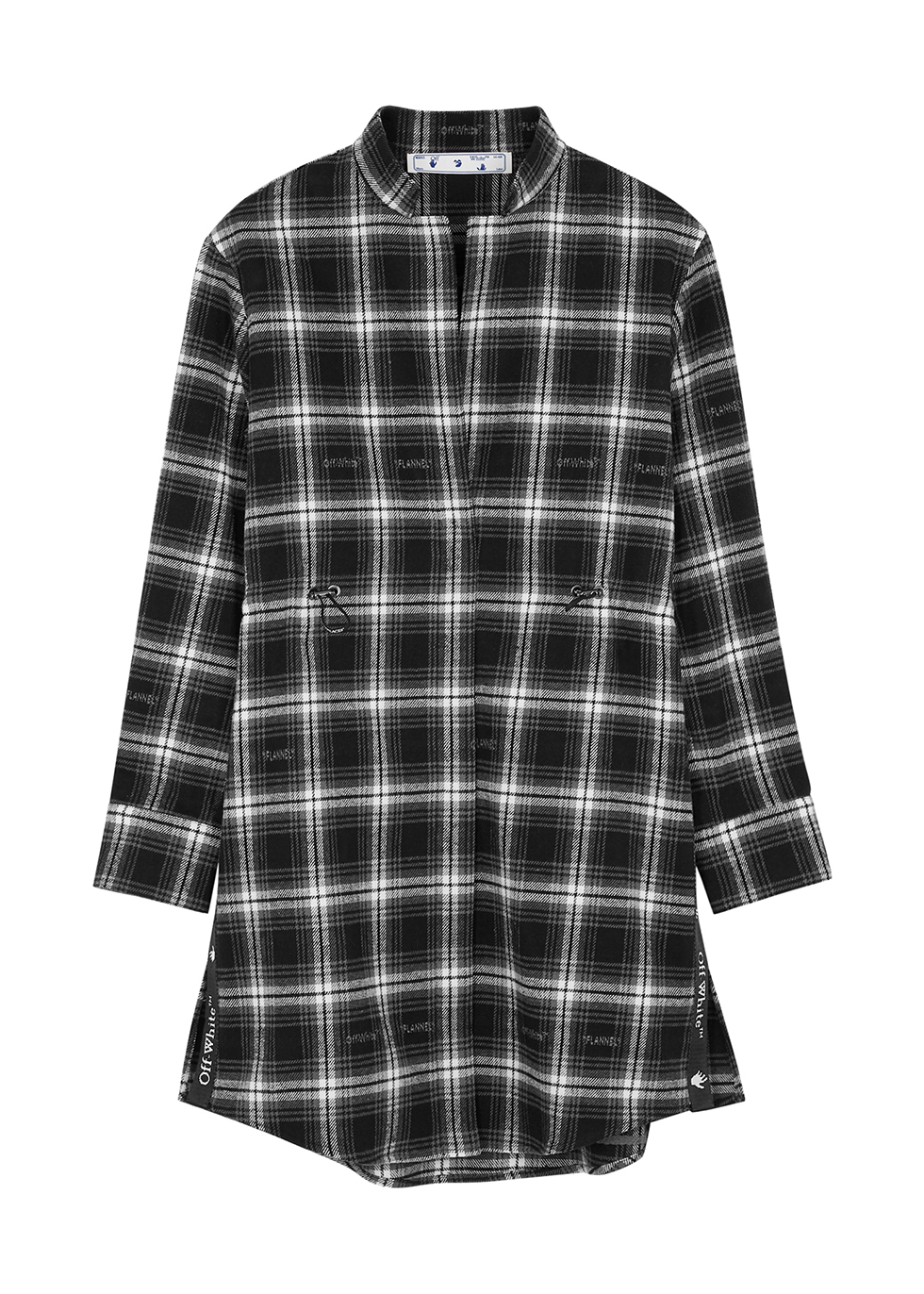Coulisse checked flannel shirt dress