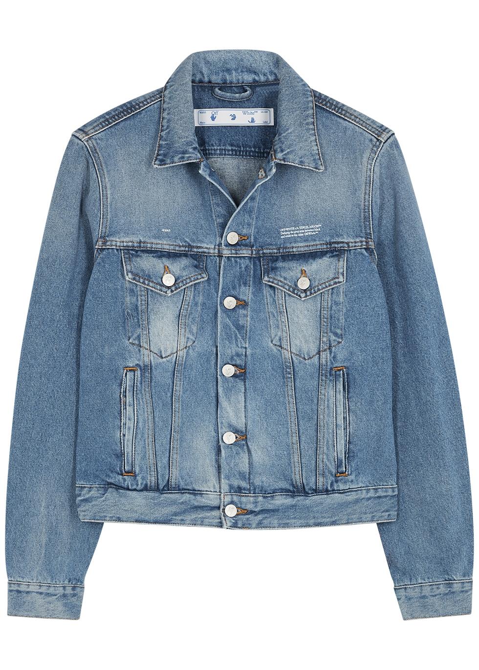 Blue logo-embroidered denim jacket