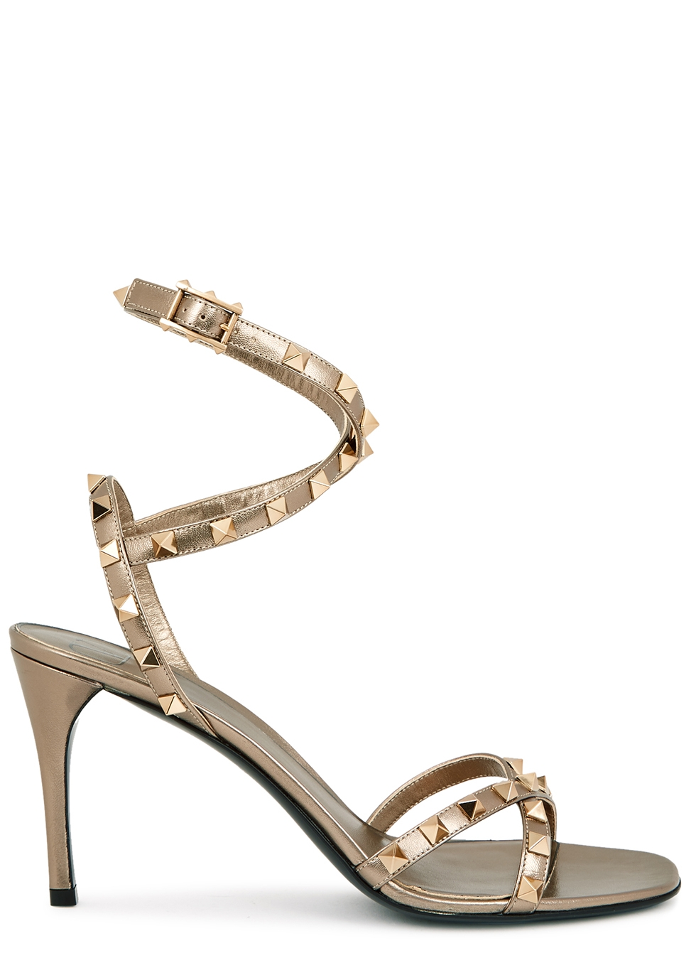Valentino Garavani Rockstud Flair 90 bronze leather sandals