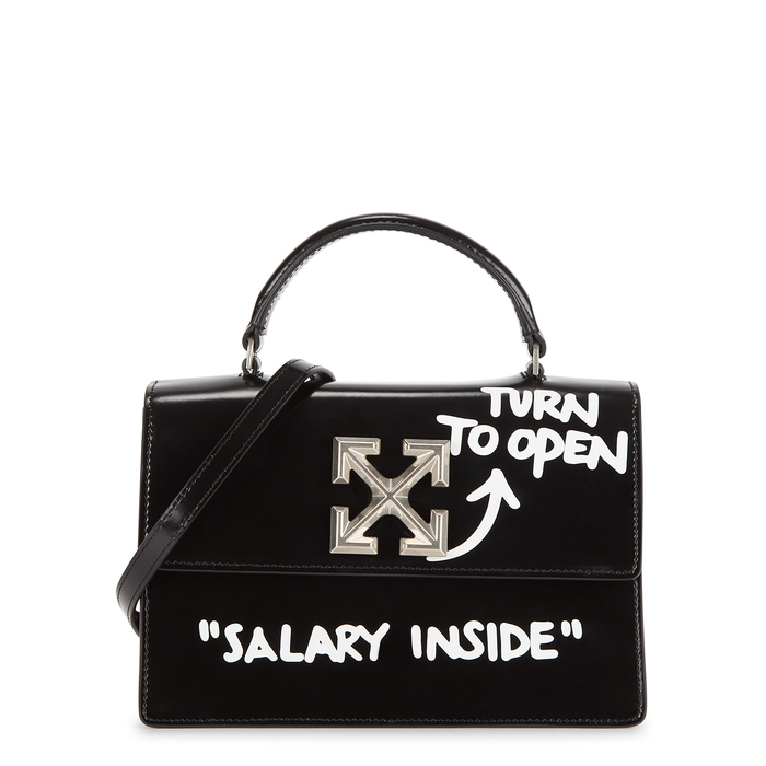 Off-White JITNEY 1.4 BLACK LEATHER TOP HANDLE BAG