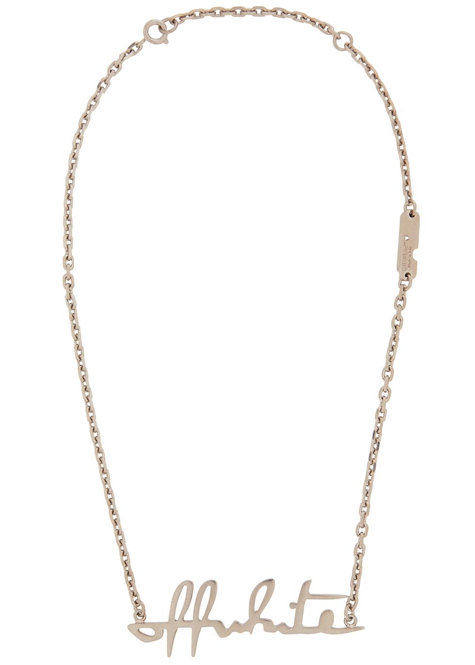 Silver-tone logo necklace