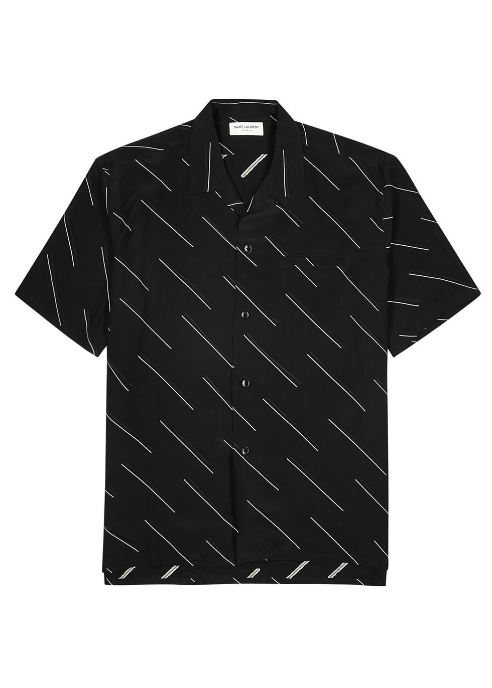 Black striped silk crepe de chine shirt