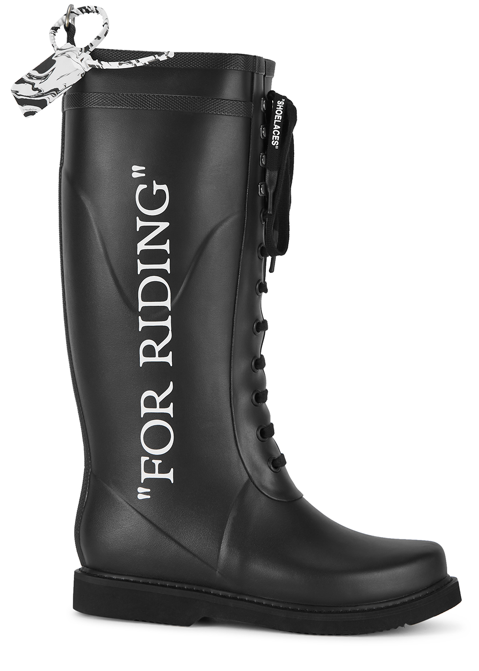 For Riding black rubber wellington boots