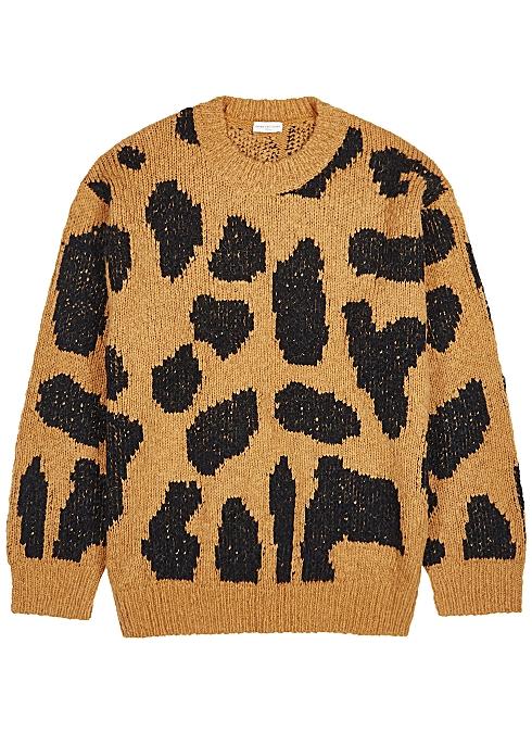 Maddox leopard-intarsia wool-blend jumper - Dries Van Noten