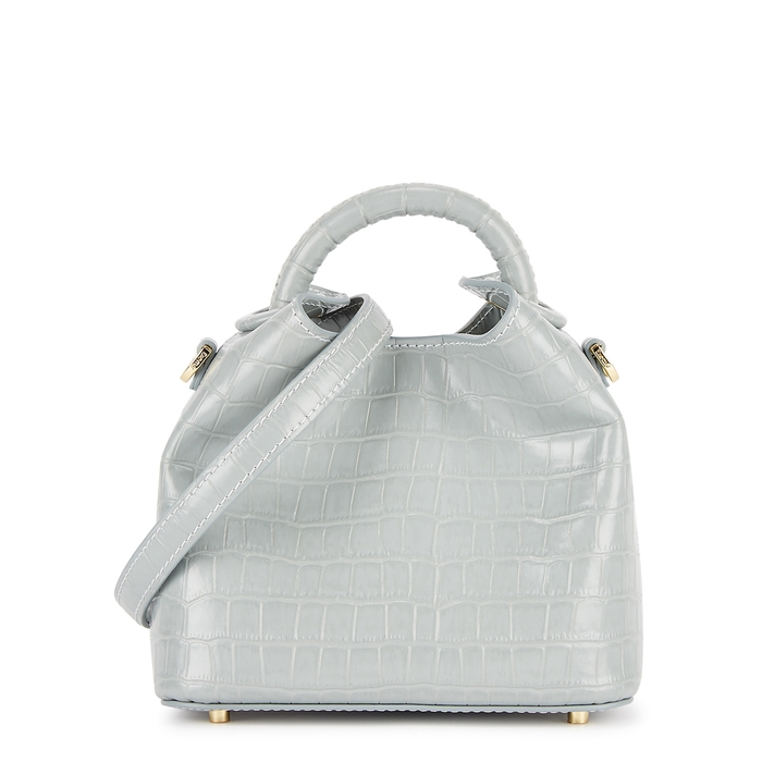 Elleme Madeleine Light Blue Crocodile-effect Leather Cross-body Bag