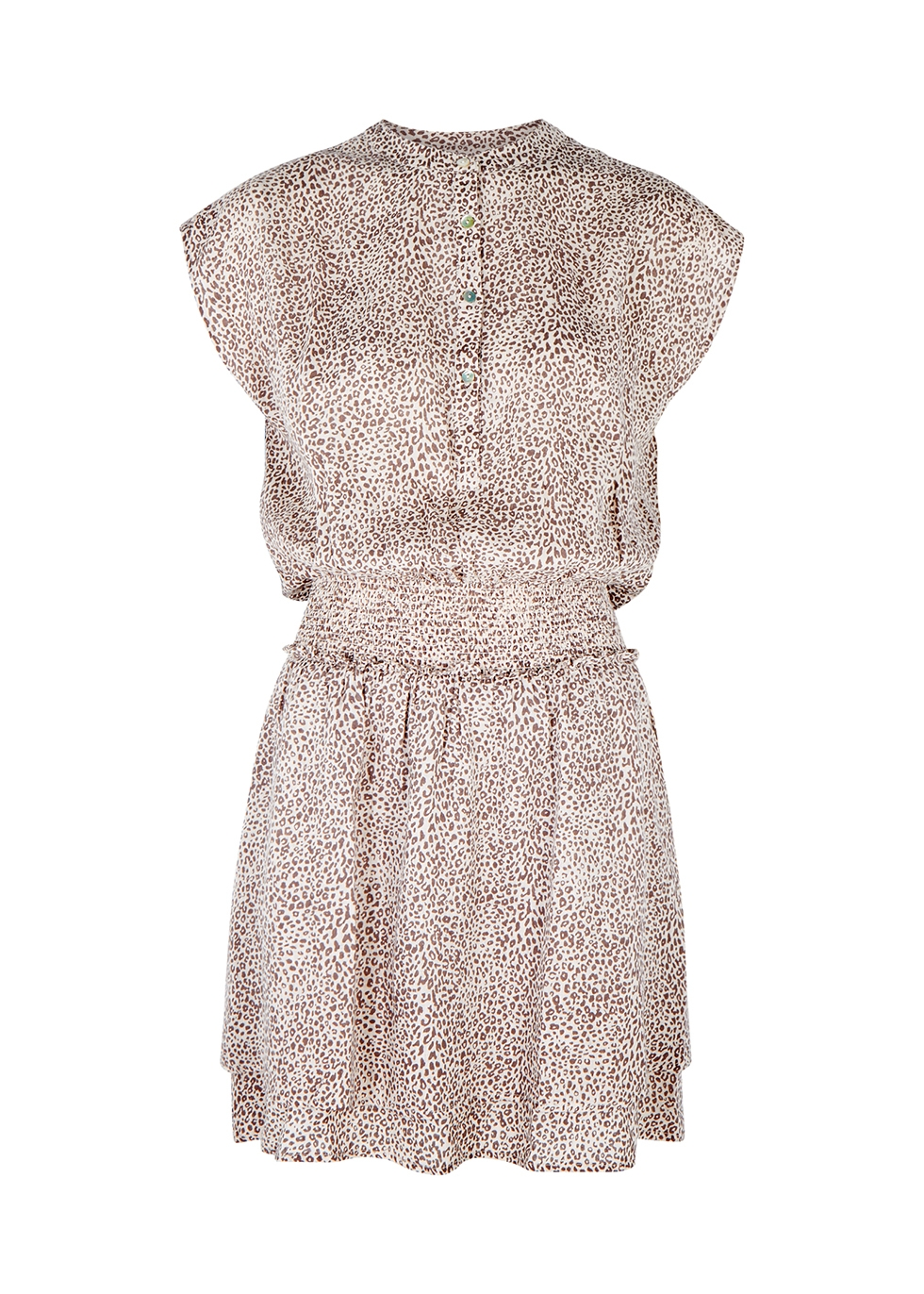 Angelina leopard-print linen-blend mini dress