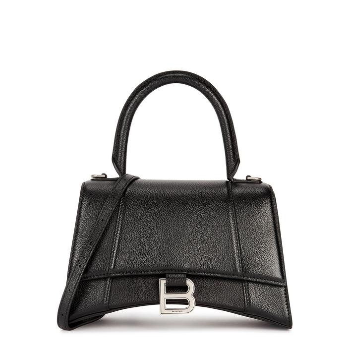 Balenciaga HOURGLASS BLACK LEATHER TOP HANDLE BAG