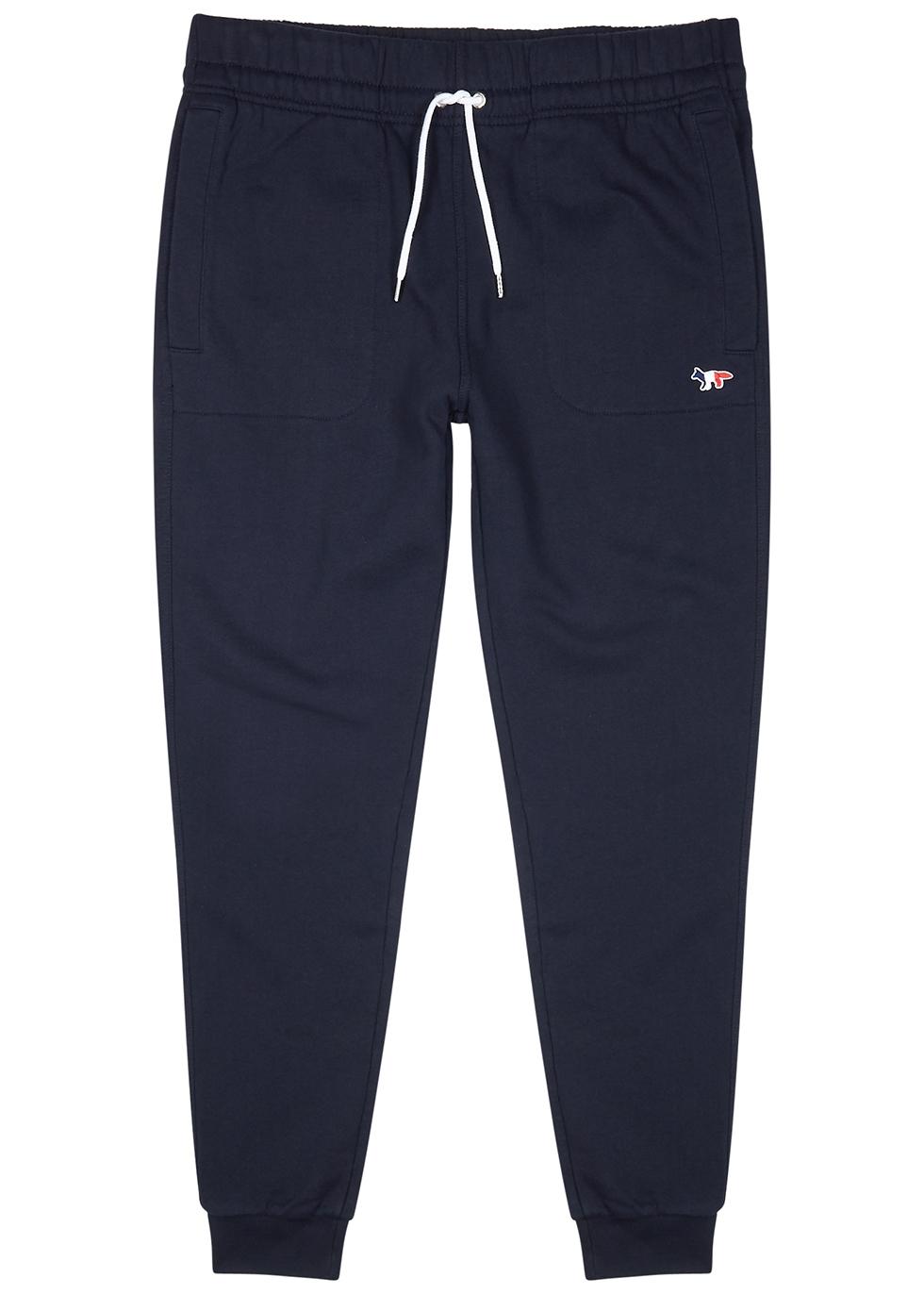 Navy cotton-jersey sweatpants