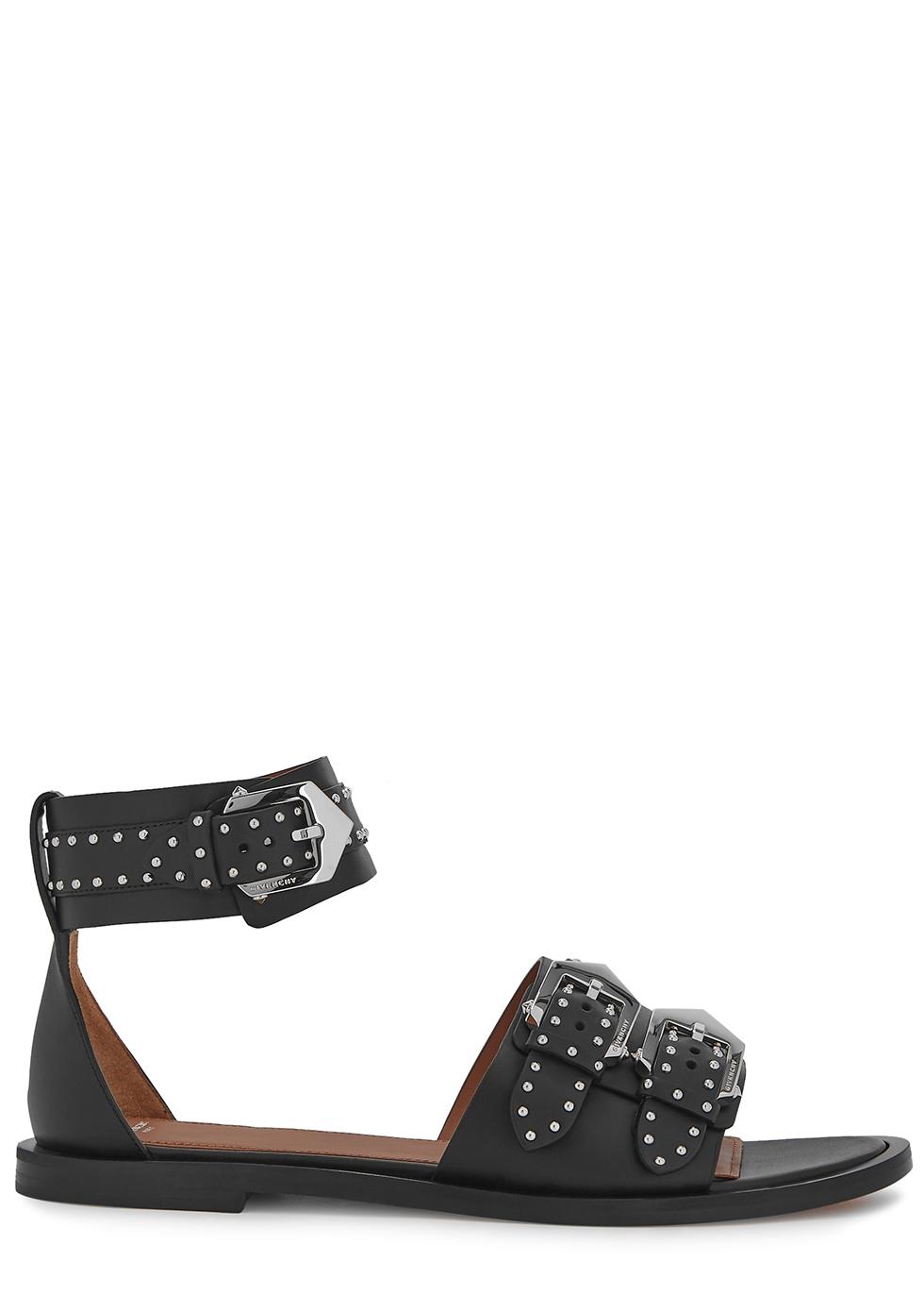 Elegant black studded leather sandals