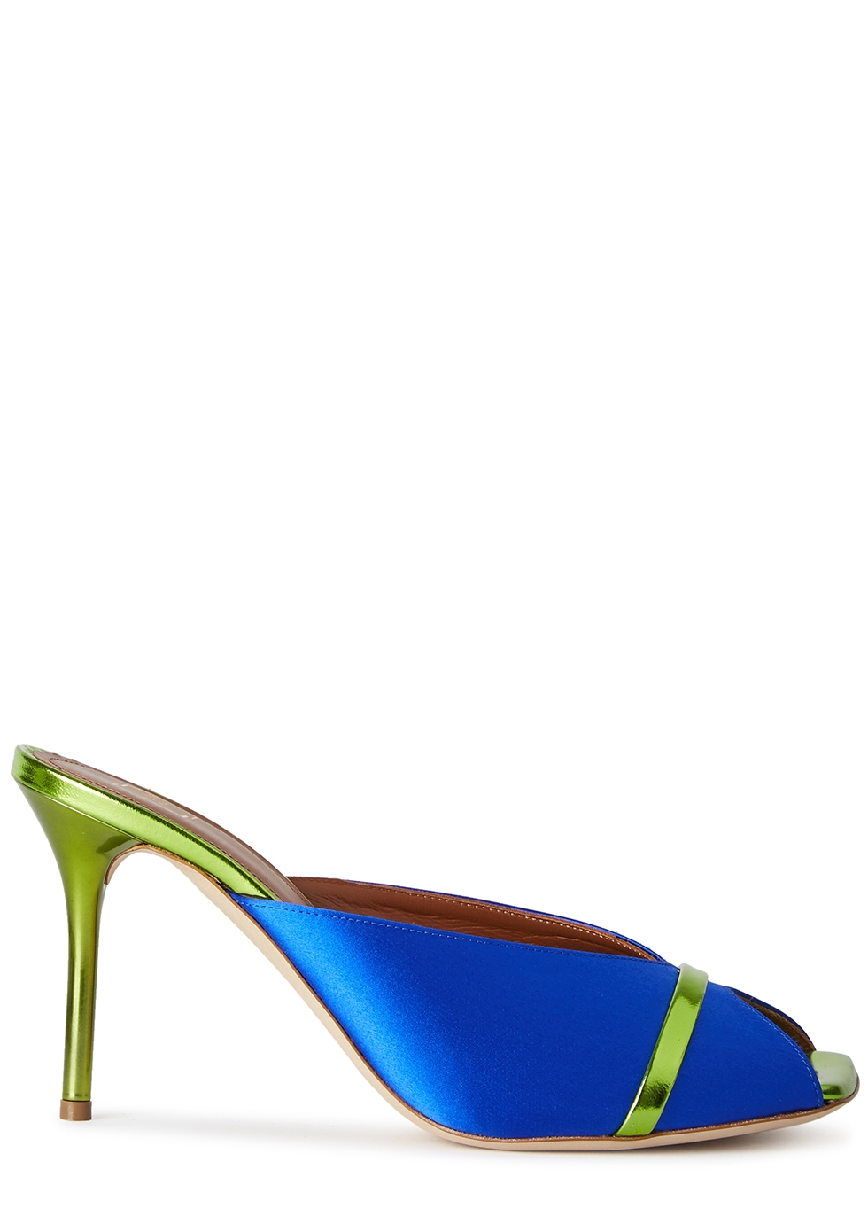 Lucia 85 blue satin and leather mules