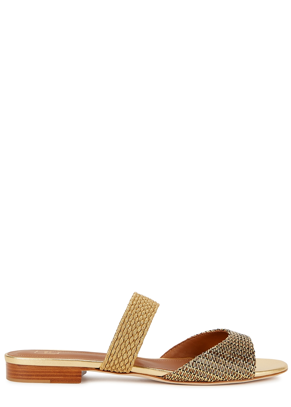 Milena 10 gold leather and Lurex sandals