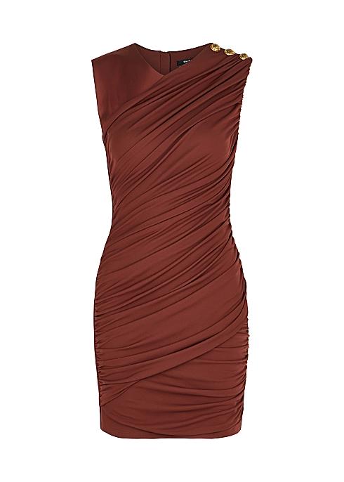Brown ruched satin-jersey mini dress - Balmain