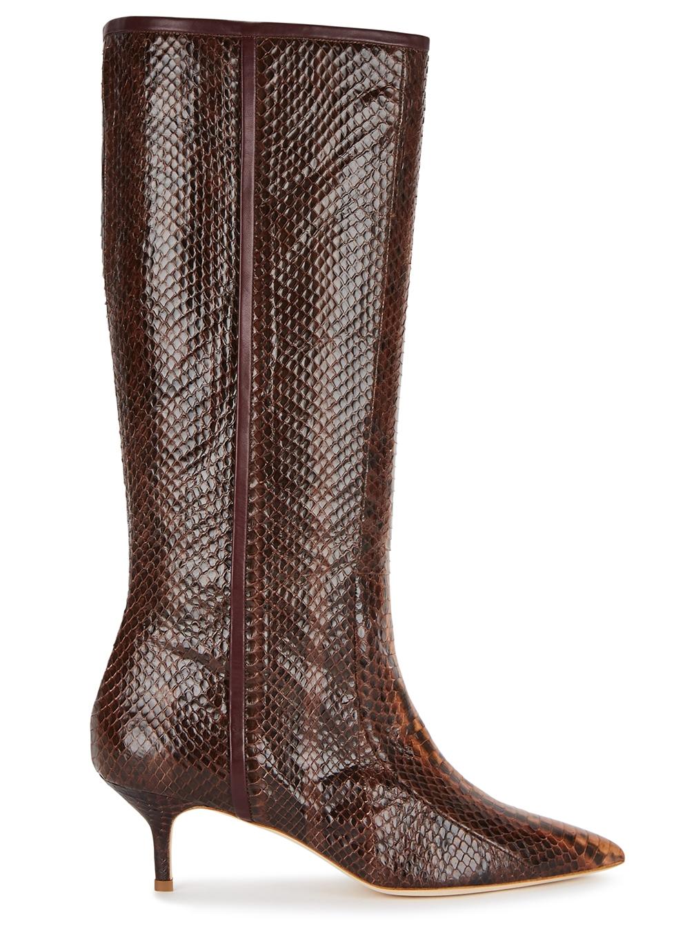 Dara 45 python knee-high boots