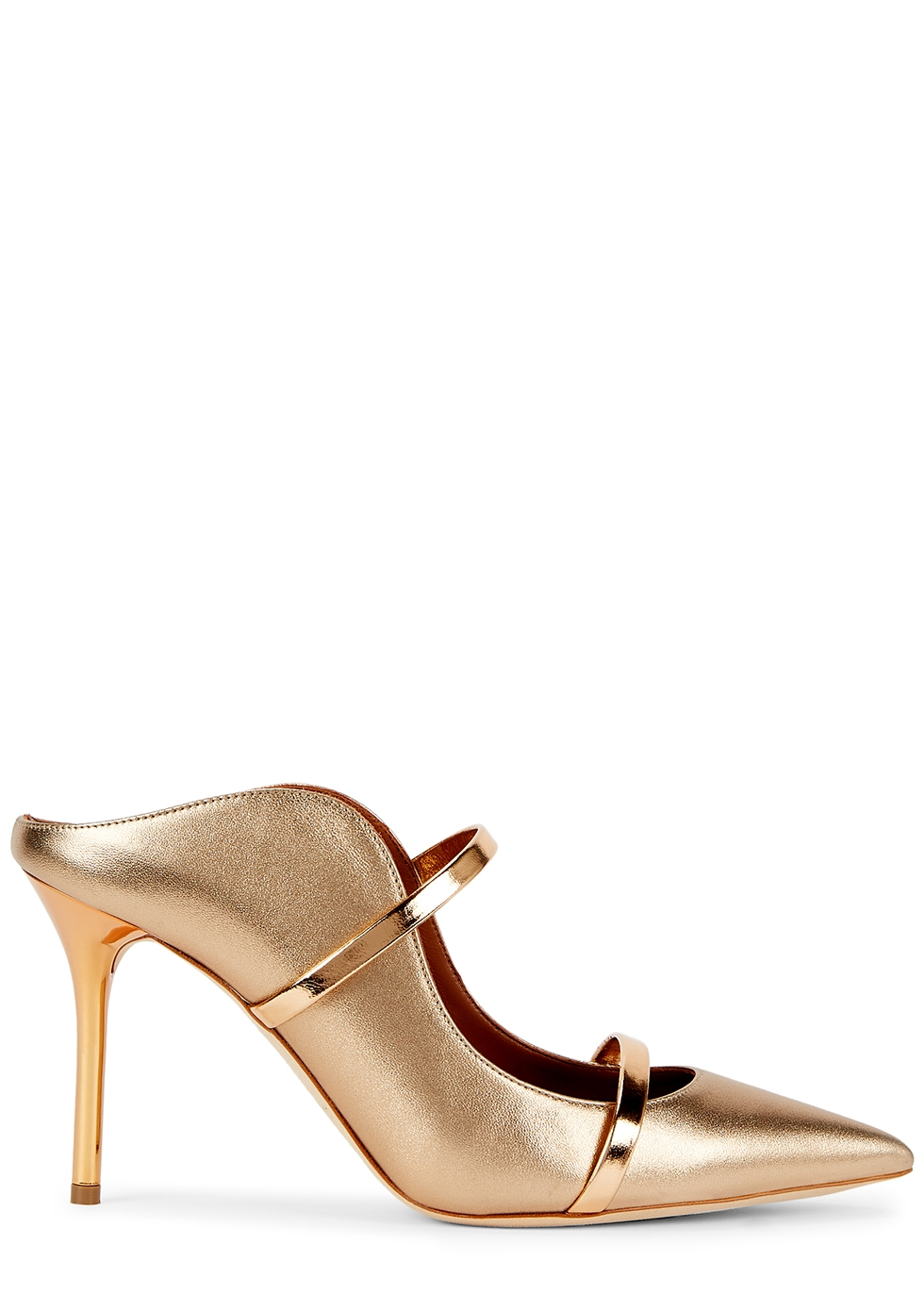 Maureen 85 gold leather mules