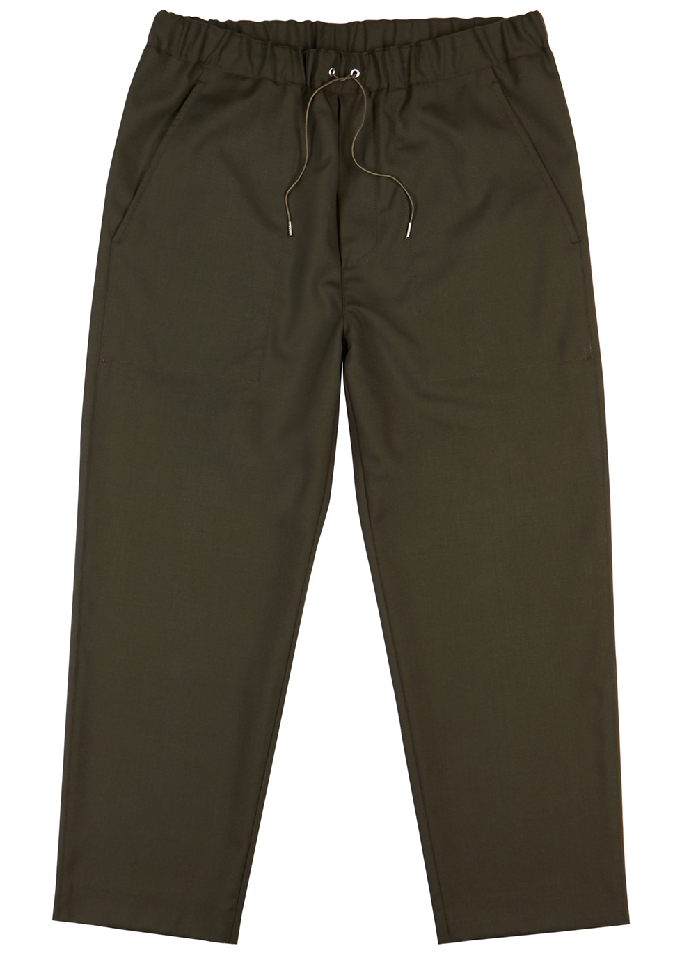Army green wool trousers