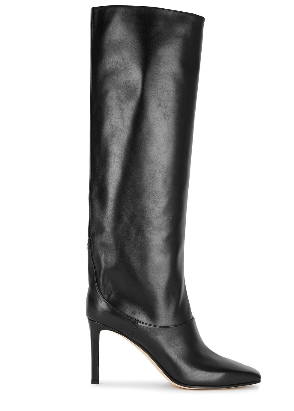 Mahesa 85 black leather knee high boots