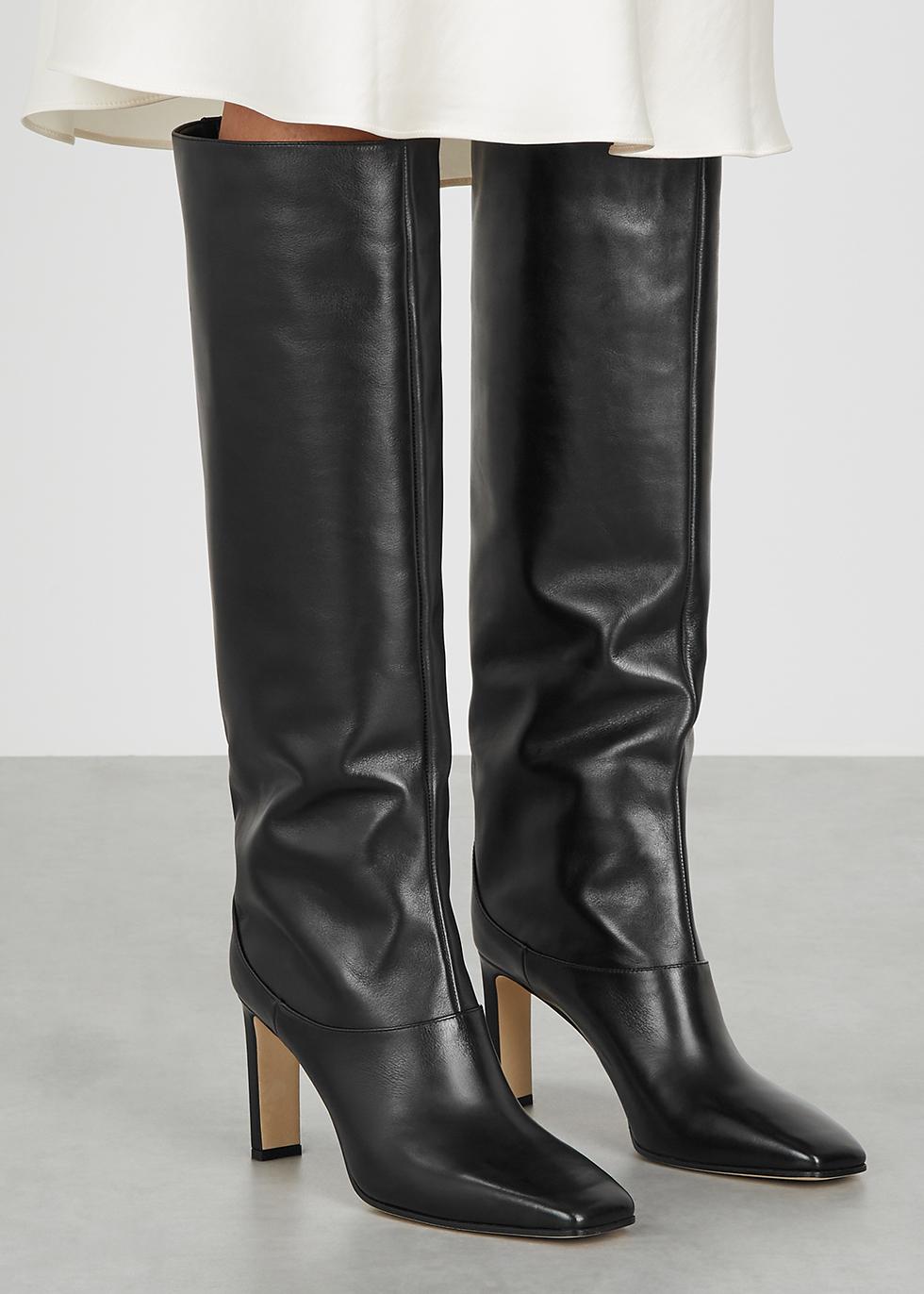 Jimmy Choo Mahesa 85 black leather knee
