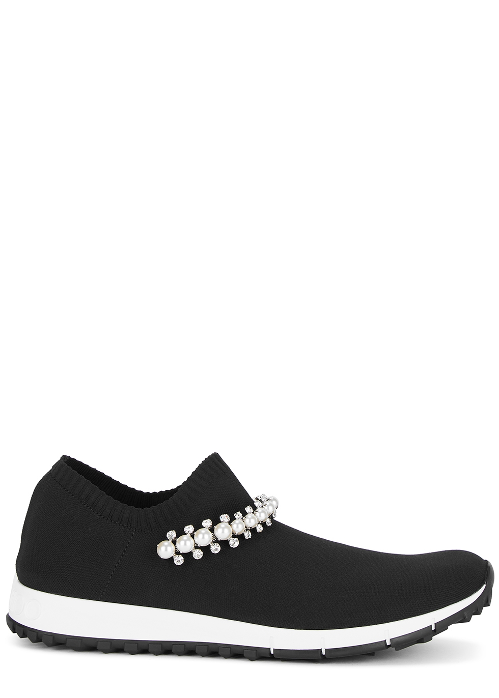 Verona faux pearl-embellished stretch-knit sneakers