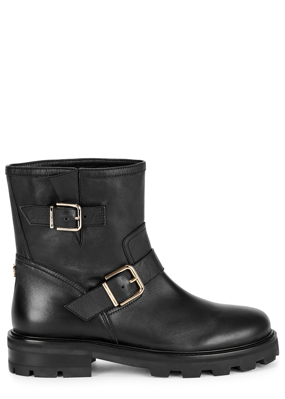 Youth black leather ankle boots