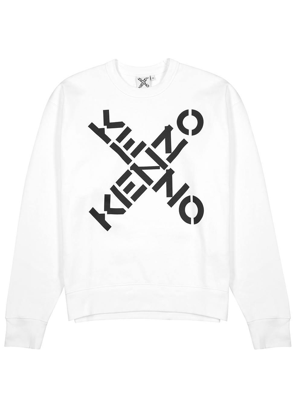 White logo-print cotton sweatshirt