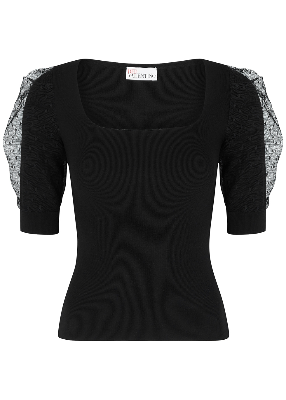 Black stretch-knit top