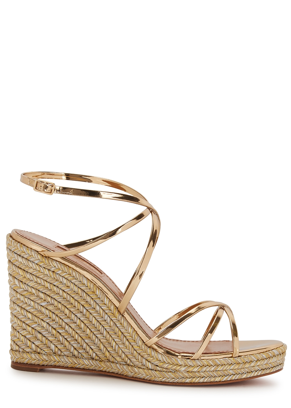 Gin 100 leather espadrille wedge sandals