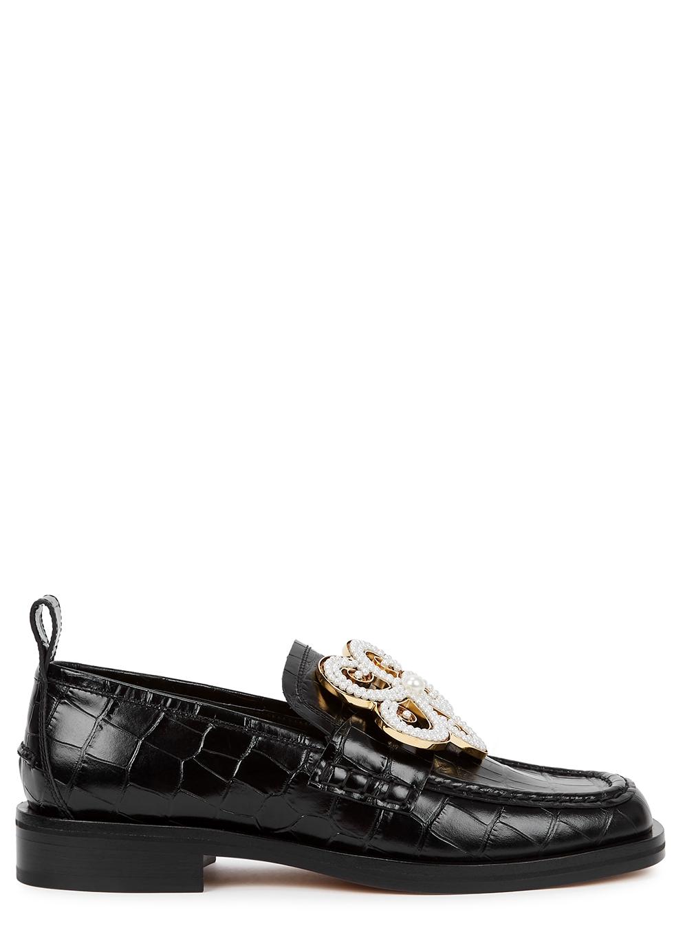 Black embellished crocodile-effect leather loafers