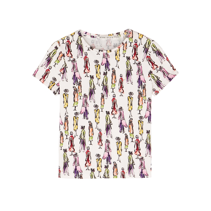 Alice And Olivia RYLYN PRINTED COTTON T-SHIRT