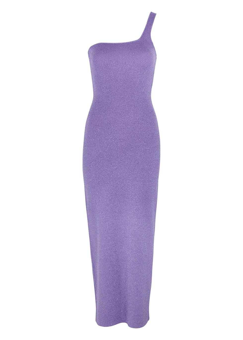 Adalane one-shoulder metallic-weave midi dress