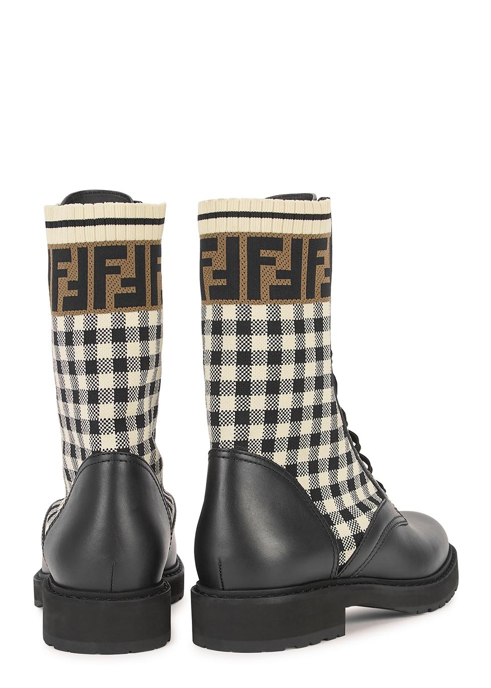 Fendi Rockoko checked leather ankle