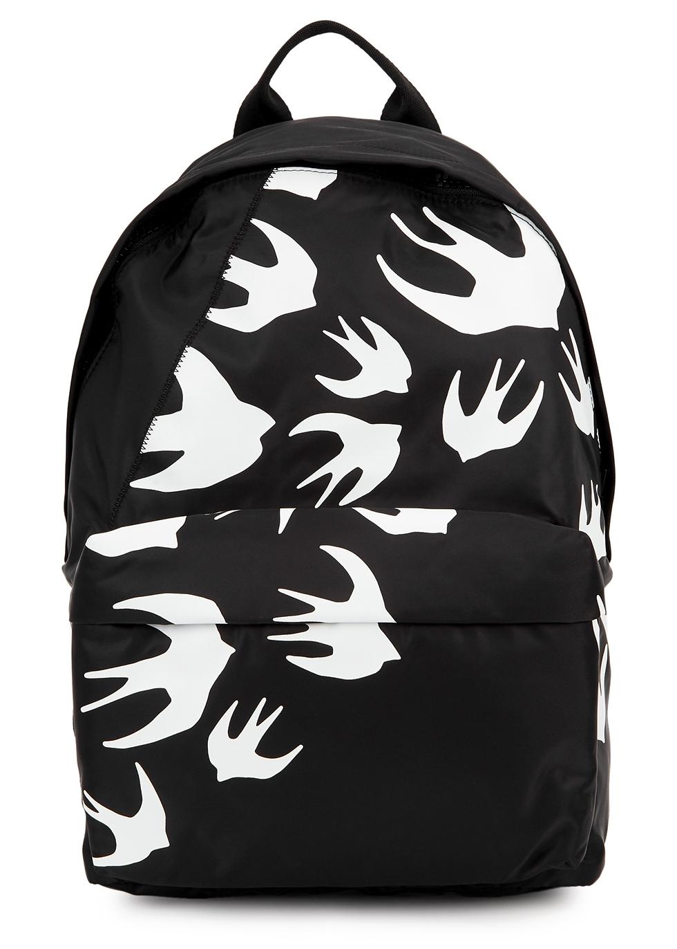 Black swallow-print nylon backpack