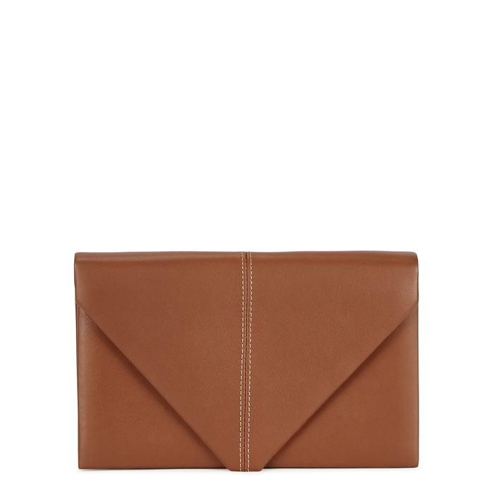 Hunting Season THE ENVELOPE BROWN LEATHER CLUTCH