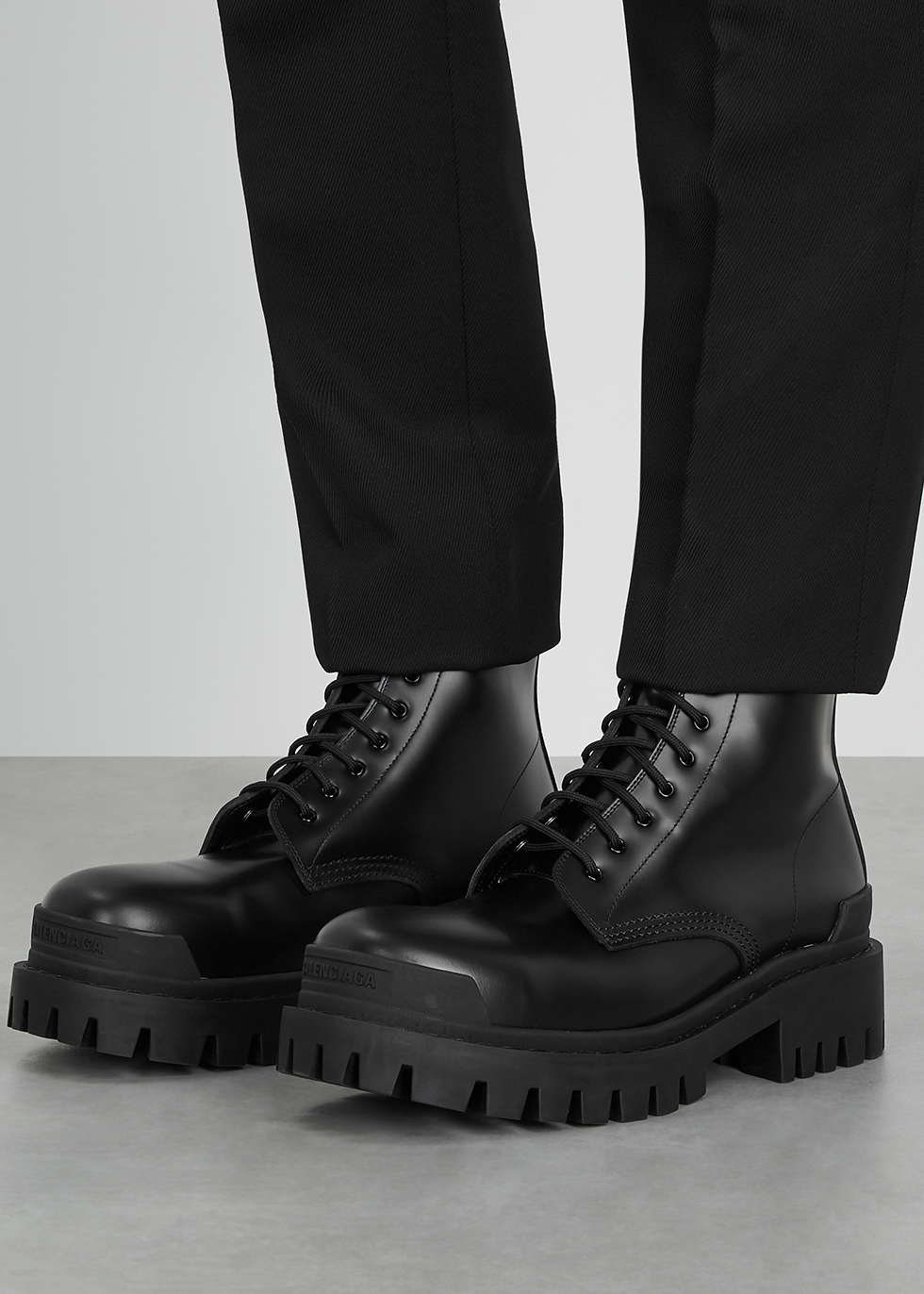 Balenciaga Strike black leather ankle