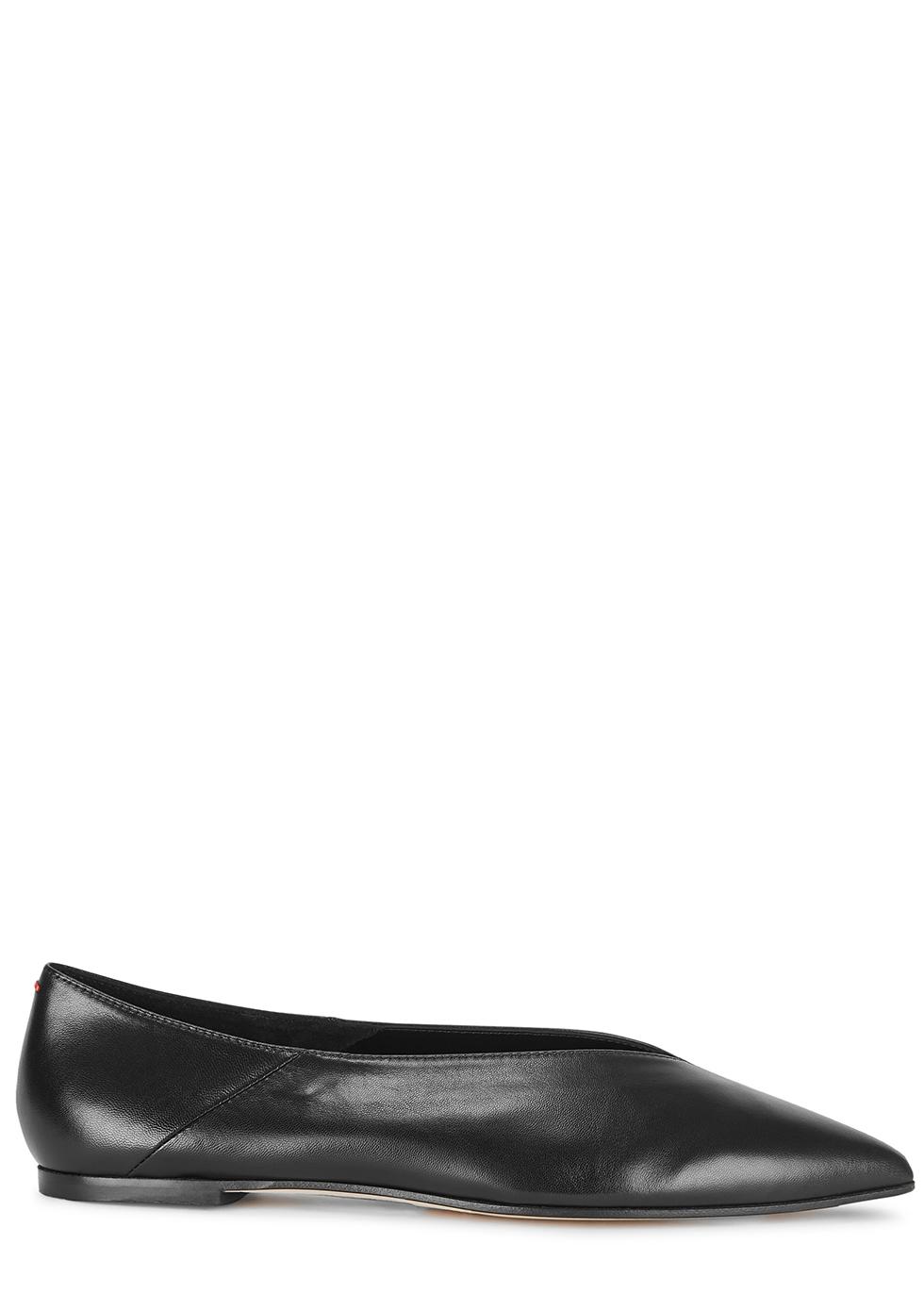 aeyde Moa black leather flats - Harvey