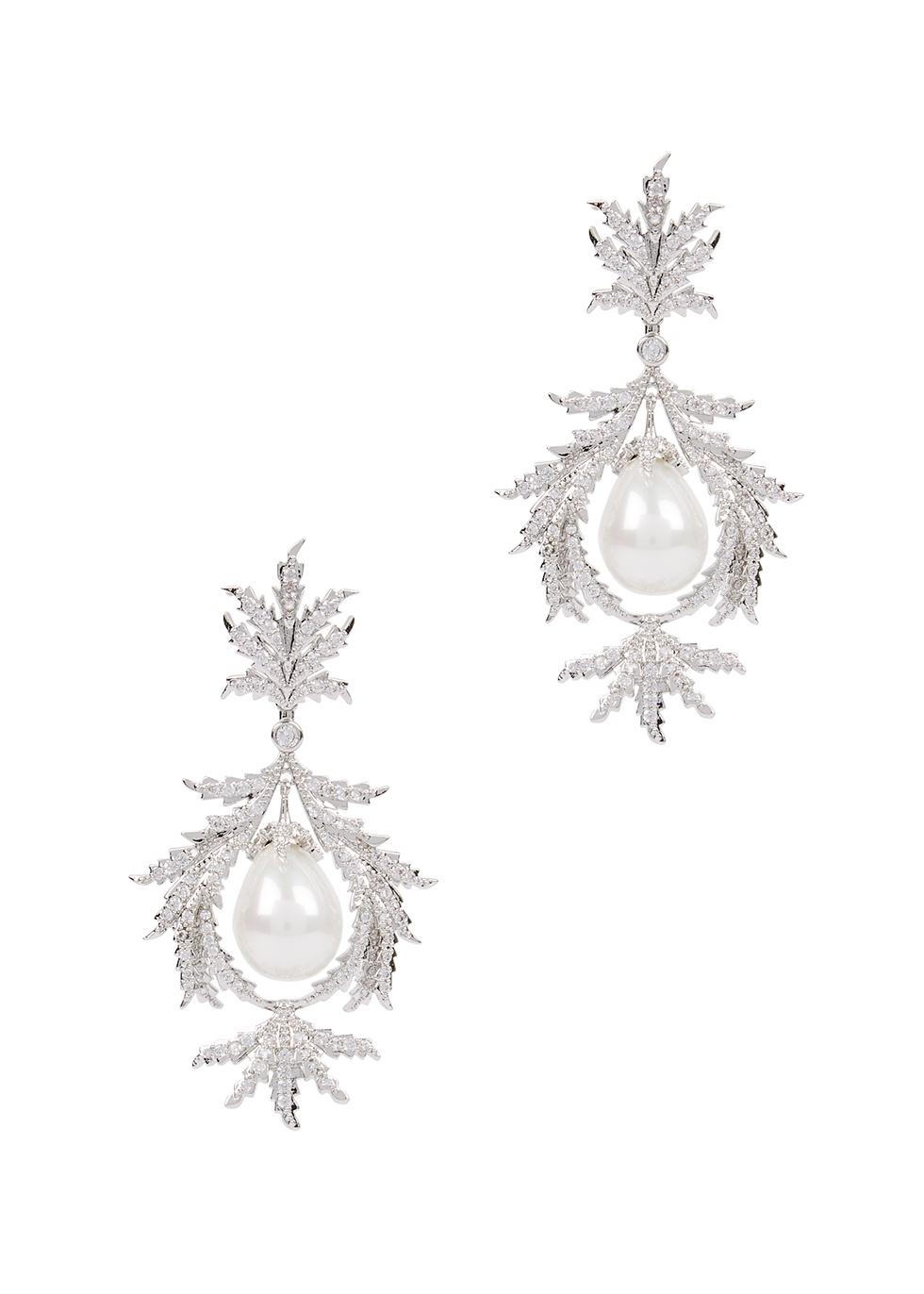 Juniper Wreath silver-tone embellished drop earrings