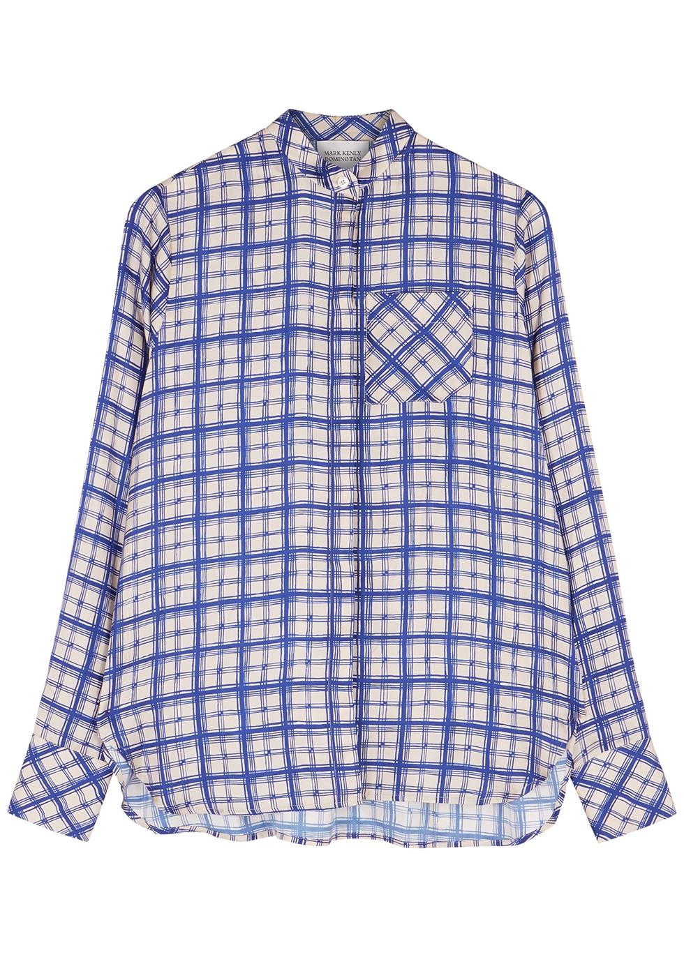 Secilia checked silk-twill blouse