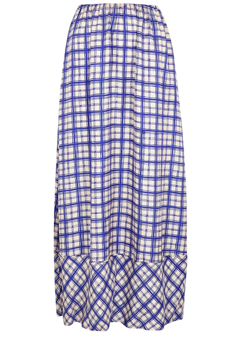 Nida checked silk-twill maxi skirt