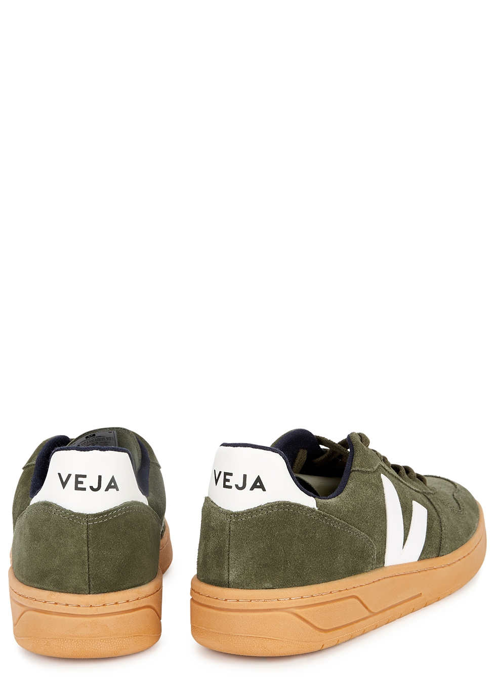 Veja V-10 army green suede sneakers