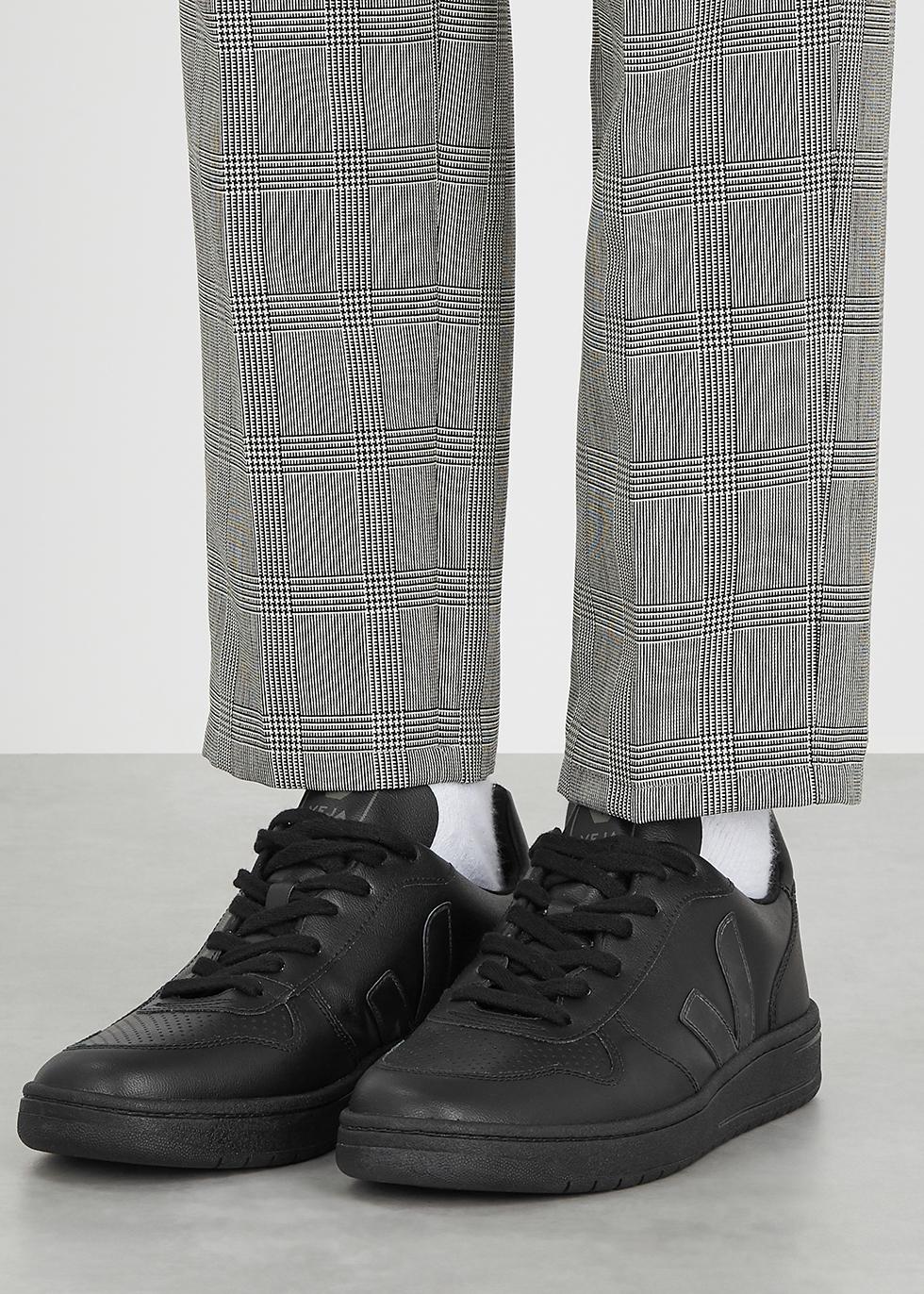 Veja V-10 black faux leather sneakers